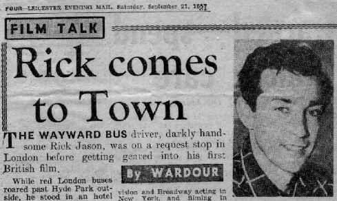 press clipping Rick Jason in England